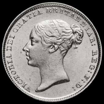 1843 Queen Victoria Young Head Silver Sixpence Obverse