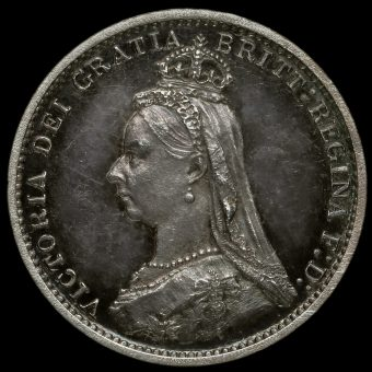 1887 Queen Victoria Jubilee Head Silver Proof Threepence Obverse
