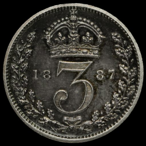 1887 Queen Victoria Jubilee Head Silver Proof Threepence Reverse