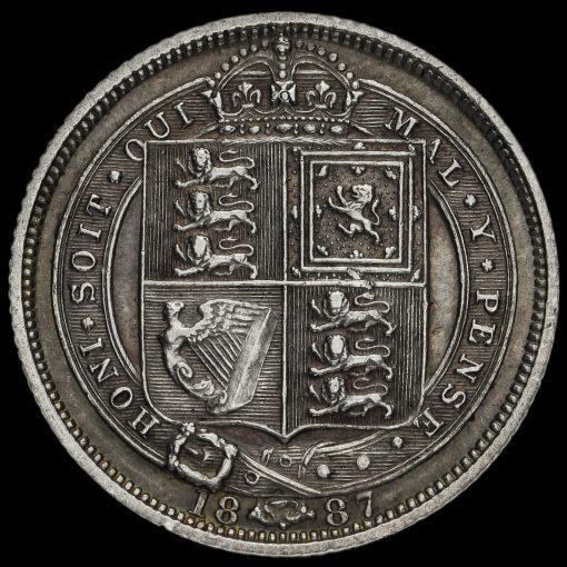 1887 Queen VictoriaJubilee Head Silver Sixpence Reverse