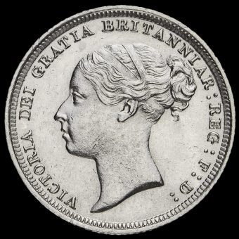1887 Queen VictoriaYoung Head SilverSixpence Obverse