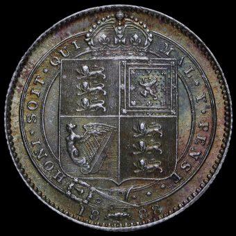 1888 Queen Victoria Silver Shilling Reverse