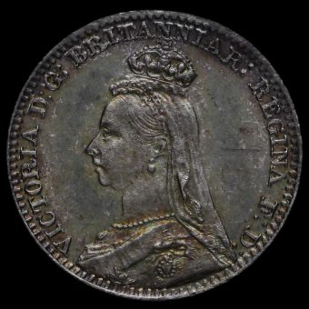 1890 Queen Victoria Jubilee Head Silver Maundy Penny Obverse