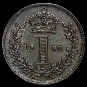 1890 Queen Victoria Jubilee Head Silver Maundy Penny Reverse