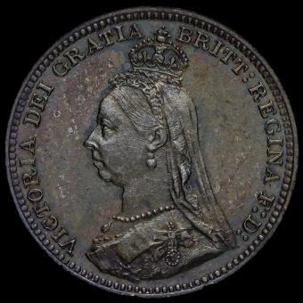 1890 Queen Victoria Jubilee Head Silver Maundy Threepence Obverse