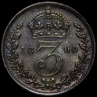 1890 Queen Victoria Jubilee Head Silver Maundy Threepence Reverse
