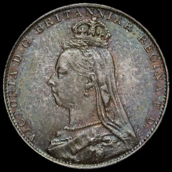 1890 Queen Victoria Jubilee Head Silver Maundy Fourpence Obverse