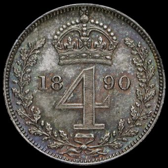 1890 Queen Victoria Jubilee Head Silver Maundy Fourpence Reverse