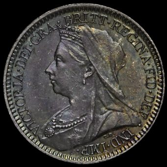 1898 Queen Victoria Veiled Head Silver Maundy Twopence Obverse
