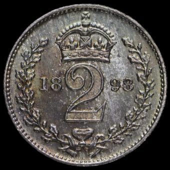 1898 Queen Victoria Veiled Head Silver Maundy Twopence Reverse