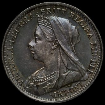 1898 Queen Victoria Veiled Head Silver Maundy Threepence Obverse