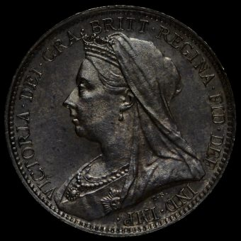 1898 Queen Victoria Veiled Head Silver Maundy Fourpence Obverse