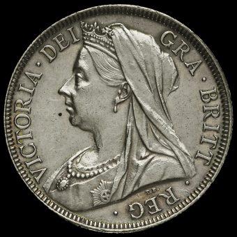 1899 Queen Victoria Veiled HeadSilver Half Crown Obverse
