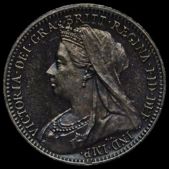 1901 Queen Victoria Veiled Head Silver Maundy Threepence Obverse