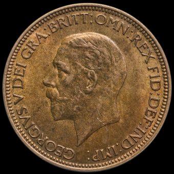 1934 George V Halfpenny Obverse