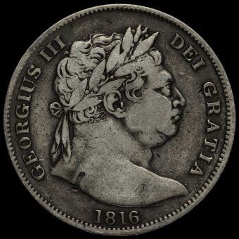1816 George III Milled Silver 'Bull Head' Half Crown Obverse
