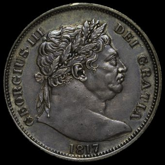 1817 George III Milled Silver 'Bull Head' Half Crown Obverse