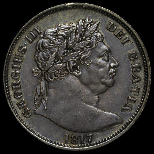 1817 George III Milled Silver 'Bull Head' Half Crown Obverse