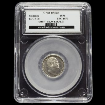 1831 William IV Milled Silver Sixpence LCGS 75