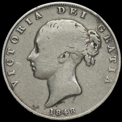 1848 Queen Victoria Young Head Half Crown Obverse