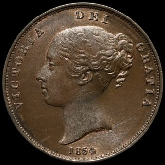 1854 Queen Victoria Young Head Copper Penny Obverse