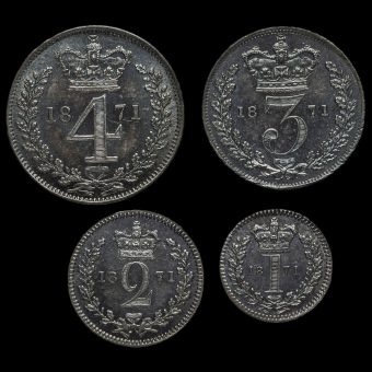 1871 Queen Victoria Young Head Silver Maundy Set Reverse