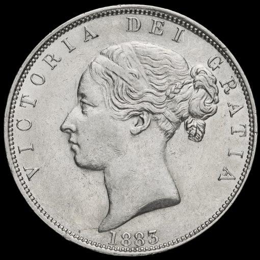 1883 Queen Victoria Young Head Silver Half Crown Obverse