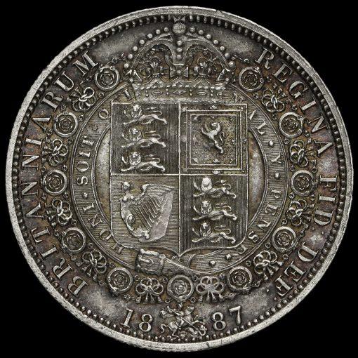 1887 Queen Victoria Jubilee Head Silver Half Crown Reverse