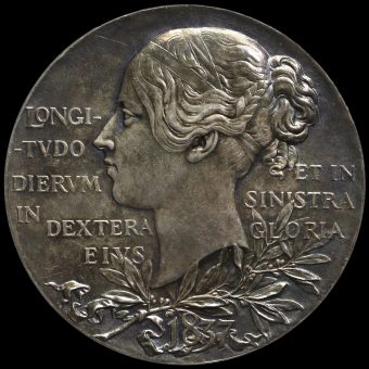 1897 Queen Victoria Official Diamond Jubilee Large Silver Medal Obverse