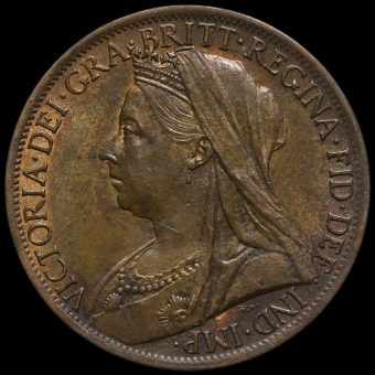 1901 Queen Victoria Veiled Head Penny Obverse