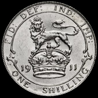 1911 George V Silver Proof Shilling Reverse