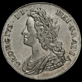 1732 George II Early Milled Silver Half Crown Obverse