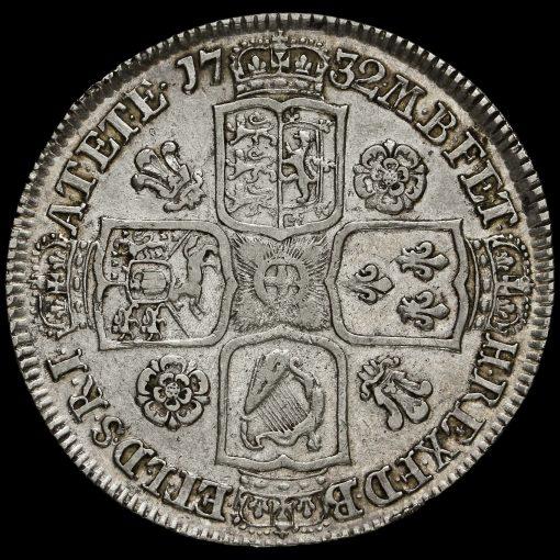 1732 George II Early Milled Silver Half Crown Reverse