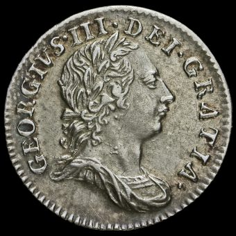 1762 George III Early Milled Silver Maundy Threepence Obverse