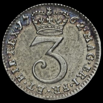 1762 George III Early Milled Silver Maundy Threepence Reverse