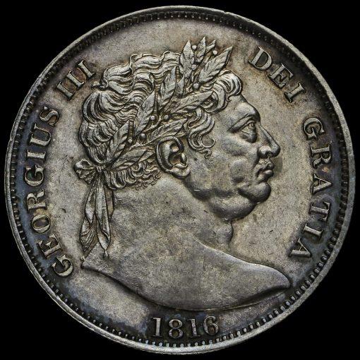 1816 George III Milled Silver 'Bull Head' Half Crown Obverse