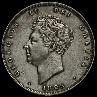 1825 George IV Bare Head Milled Silver Shilling Obverse