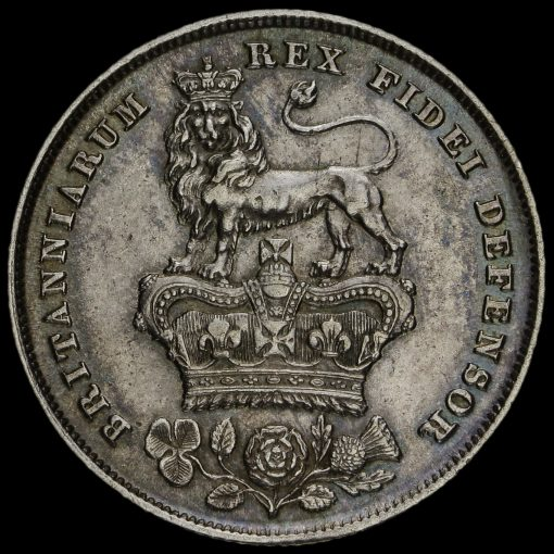 1825 George IV Bare Head Milled Silver Shilling Reverse