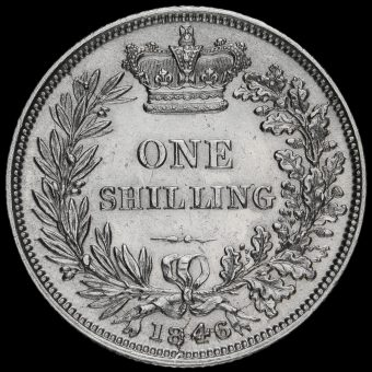 1846 Queen Victoria Young Head Silver Shilling Reverse