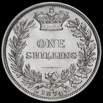 1874 Queen Victoria Young Head Silver Shilling Reverse