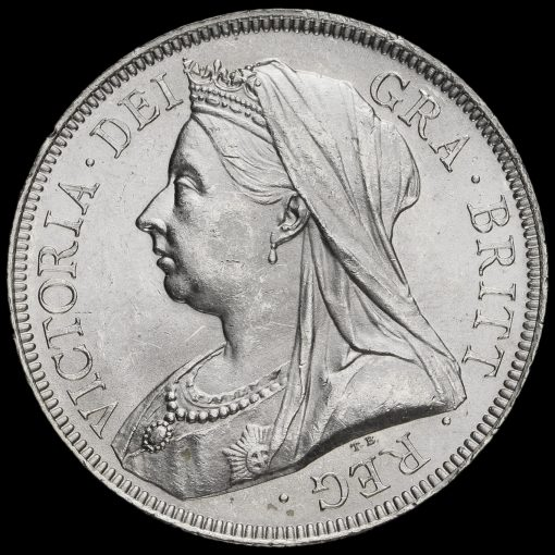 1893 Queen Victoria Veiled Head Silver Half Crown Obverse