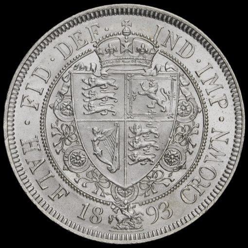1893 Queen Victoria Veiled Head Silver Half Crown Reverse