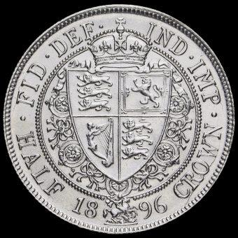 1896 Queen Victoria Veiled Head Silver Half Crown Reverse