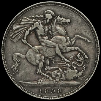1898 Queen Victoria Veiled Head Silver LXII Crown Reverse