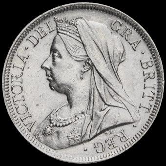 1900 Queen Victoria Veiled Head Silver Half Crown Obverse