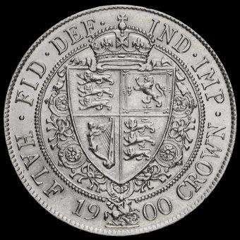 1900 Queen Victoria Veiled Head Silver Half Crown Reverse
