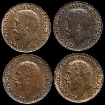4 x George V Farthings Obverse