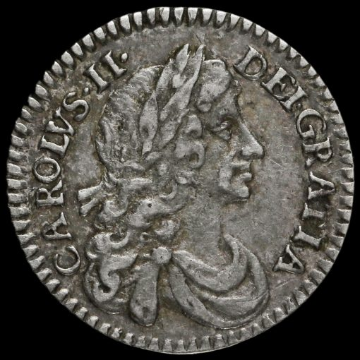 1673 Charles II Early Milled Silver Maundy Twopence Obverse