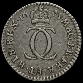 1673 Charles II Early Milled Silver Maundy Twopence Reverse