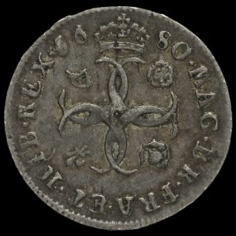 1680 Charles II Early Milled Silver Maundy Fourpence Reverse